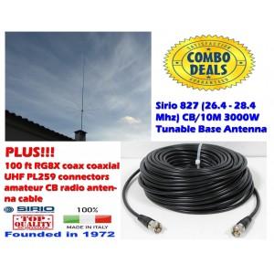 Combo: Sirio 827 (26.4 - 28.4 MHz) CB Antenna Kit 3000W Tunable Base Antenna with 100Ft Coax