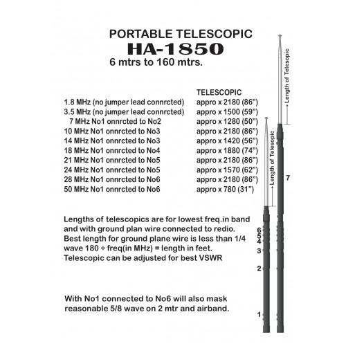 Harvest 1850 Multi-Band Portable Telescopic 1.8 - 50 Mhz (160 Meter to 6 Meter) Mobiel Antenna