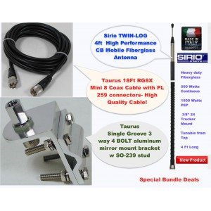 Sirio 1500 Watt 4FT (26.65 - 27.75 MHz) CB Antenna Kit, 18FT RG8x Coax, Brackets