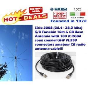 Combo: Sirio 2008 (26.4 - 28.2 MHz) 5/8 Tunable CB Antenna Kit Base Antenna with 100 Ft Coax
