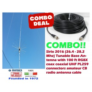 Combo: Sirio 2016 (26.4 - 28.2 MHz) Tunable CB Antenna Kit Base Antenna + 100 ft Coax