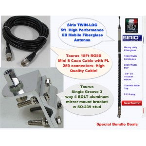 Sirio 3000 Watt 5FT CB Antenna Kit, 18FT RG8x Coax, Bracets