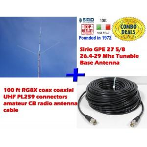 Combo: Sirio GPE 27 5/8 (26.4 - 29 MHz) Tunable CB Antenna Kit Base Antenna + 100 ft Coax